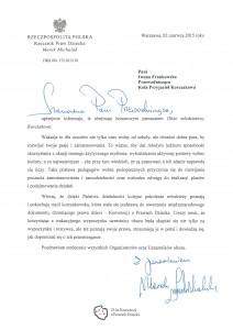 List od Rzecznika Praw Dziecka